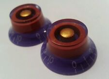 2 Guitar top hat volume / tone knobs. Purple/Red/Gold.. JAT CUSTOM GUITAR PARTS
