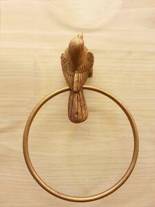 Brass Napkin Bird Towel Ring Hanger Door Wall Spigot Mount Vintage ...