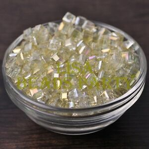 25pcs-6mm-Cube-Square-Faceted-Crystal-Glass-Charms-Loose-Spacer-Beads-Yellow