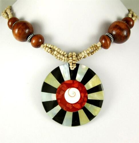 """Corail Rouge Mother of Pearl Shell Pendentif 21/"""" Perles Collier Femmes Bijoux AA126"""