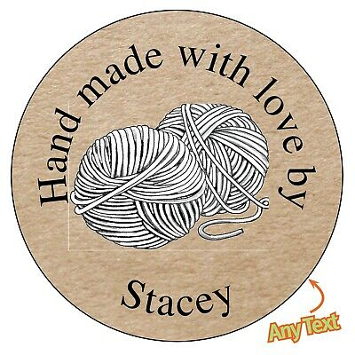 35 x 37mm Personalised Handmade With Love Kraft Black Heart Favours Stickers