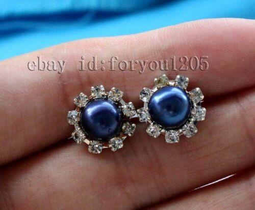 Charming Genine Natural 8mm Blue Pearl Earrings 925silver #f2223!