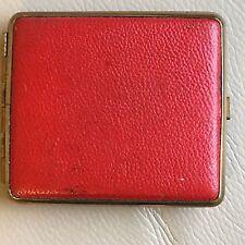 Vintage Retro Mid Century 1950s 1960s Red Leather GT Cigarette Case Clip Closure