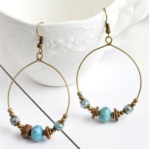 Boucles-d-039-oreilles-creoles-Boheme-Perles-Goutte-Pendantes-Femmes-Oreille-sl