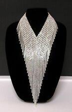 Natasha Couture Clear Aurora Borealis Rhinestone Waterfall Fringe Bib Necklace