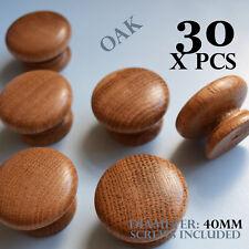 30 x wooden oak kitchen door knobs handles cabinet cupboard 40 mm diameter