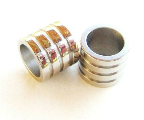 Acero inoxidable perlas spacer 10x11,5mm para cintas 8,5mm grande agujero Bart perla