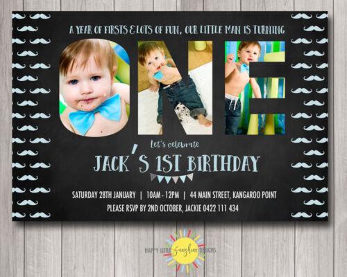 Printable Boys Birthday Invitation Photo Letters Chalkboard Moustache 1st