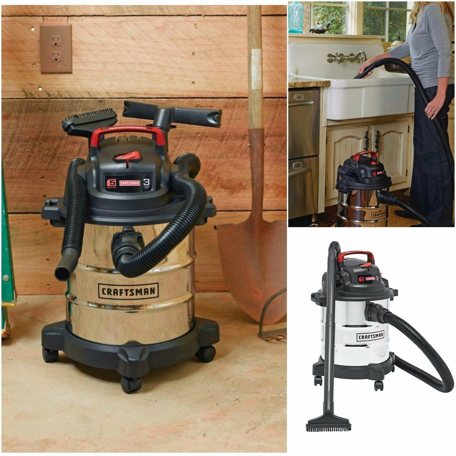 Craftsman Vac 5 Gallon Stainless Steel Wet Dry Vacuum Cleaner Blower 8 Accessory