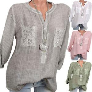 Women-V-Neck-Loose-Long-Sleeve-Blouse-Cotton-Linen-Summer-Casual-T-Shirt-Tops-US