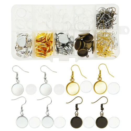 Glass Cabochons 1 Box Earring Findings Mixed Earring Hooks Metal Bezel Frame