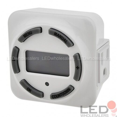 ETL-Listed White 15A 7-Day Plug-In Digital Timer with Grounded Outlet