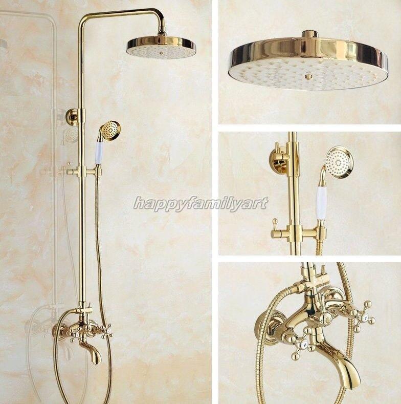 Couleur or laiton pluies salle de bains douche de pluie robinet set baignoire mitigeur ygf455