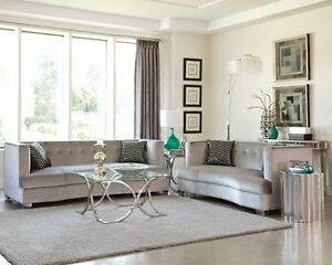 ... SLEEK SILVER GRAY GREY VELVET SOFA LIVING ROOM