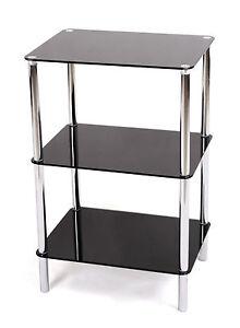 Image Is Loading 3 TIER GLASS SHELF UNIT BLACK GLASS CHROME