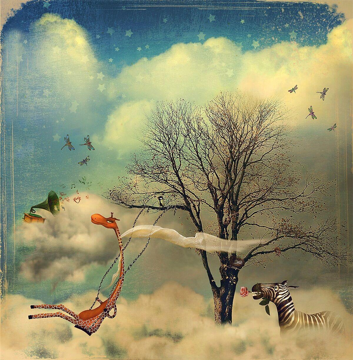 3D Giraffe, Baum 266 Fototapeten Wandbild Fototapete Bild Tapete Familie Kinder