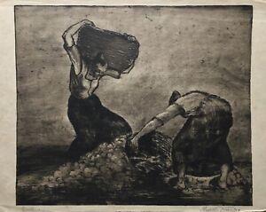 Potato-Harvest-Women-in-the-field-work-etching-Rudolf-Krauss-30-x-41-cm