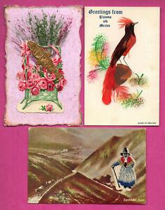 Fatto-a-Mano-Lotto-di-6-Vintage-Cartoline-365