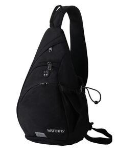 WATERFLY-Black-Sling-Backapck-Chest-Bag-Hiking-Sport-Messenger-Shoulder-Bag