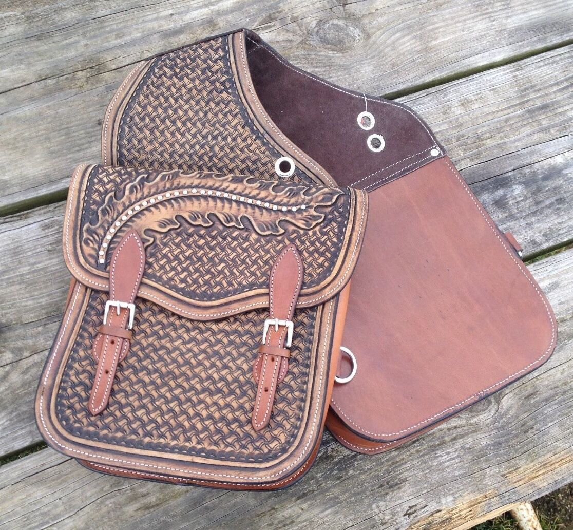 Showman stamped Leather Western saddle  bags SB-62  free shipping on all orders