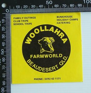 VINTAGE-WOOLLAHRA-FARMWORLD-BEAUDESERT-QLD-SOUVENIR-ADVERTISING-PROMO-STICKER