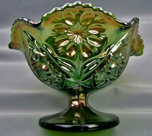 Modern-Imperial-FOUR-SEVENTY-FOUR-474-Green-Marked-Carnival-Glass-Compote-6933