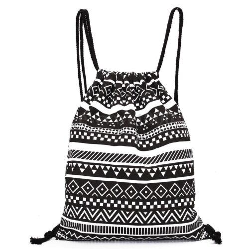 String Drawstring Bag Sack Schoolbag Sport Backpack PE Swimming Shoulder Bags