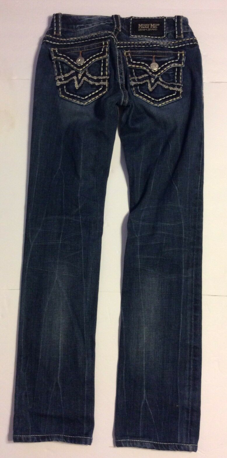 MISS ME WOMEN'S STRAIGHT DARK WASH DISTRESSED JEANS 27 x 32 aa-4