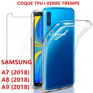 Antiderapant-Coque-Samsung-A7-A8-A9-2018-A6-Etui-Transparent-Film-Verre-trempe