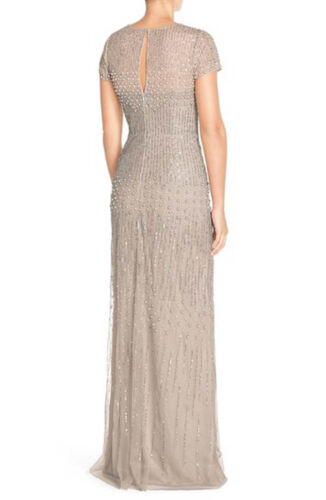 NWOT  brown gold  Adrianna Papell Short Sleeve Sequin Mesh Gown 6