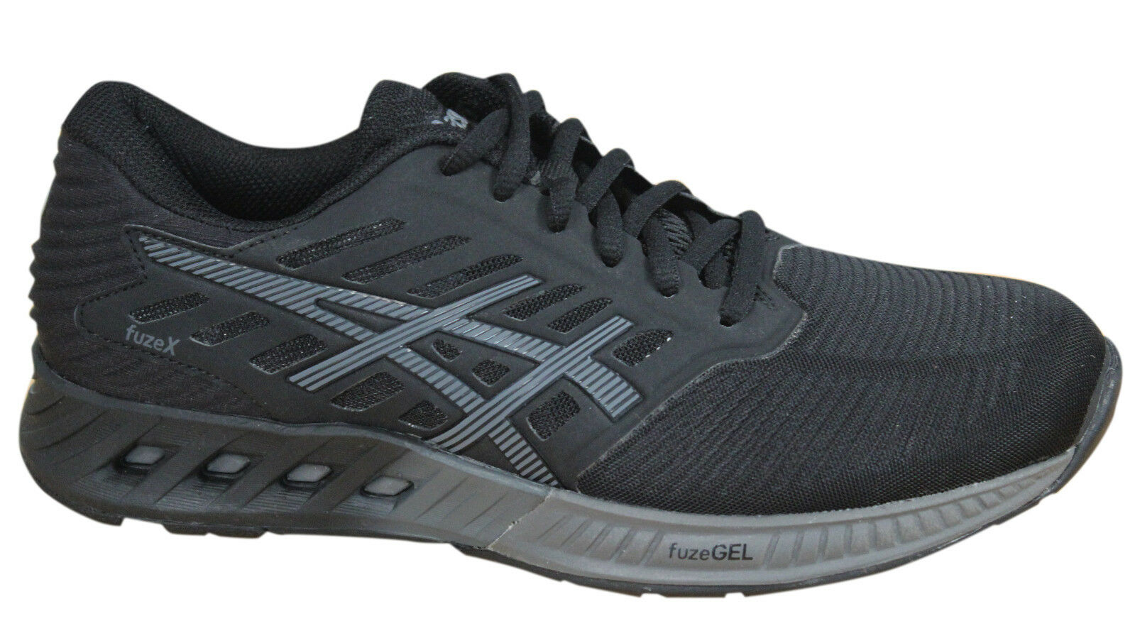 Asics FuzeX Womens Trainers Lace Up Shoes Black Synthetic Textile T689N 9096 D41 Comfortable and good-looking