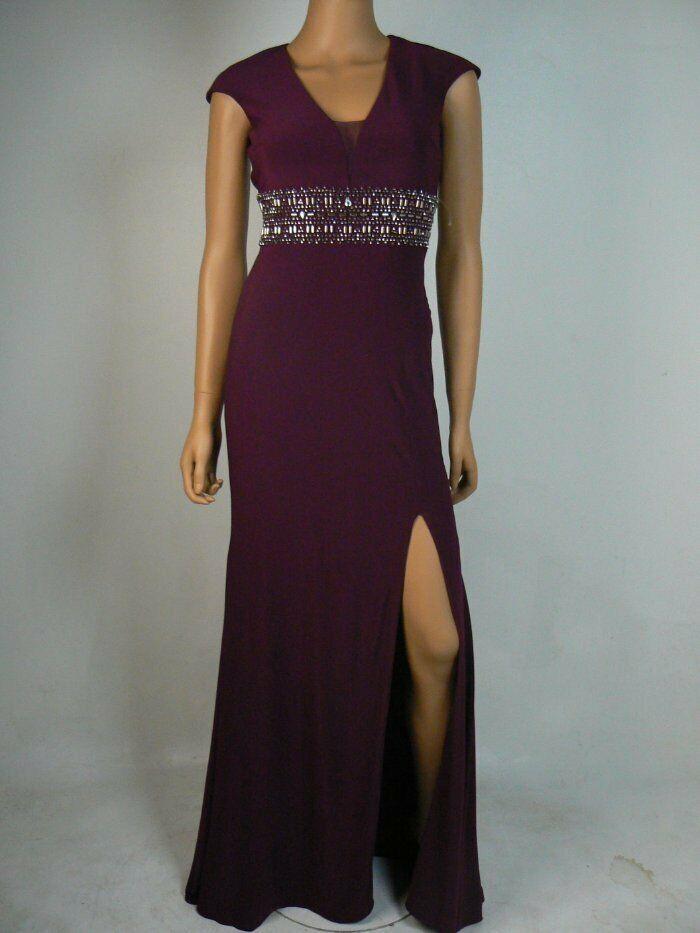 Xscape lila Vneck Side Slit Jersey Cap Sleeve Open Back Gown NEW X234