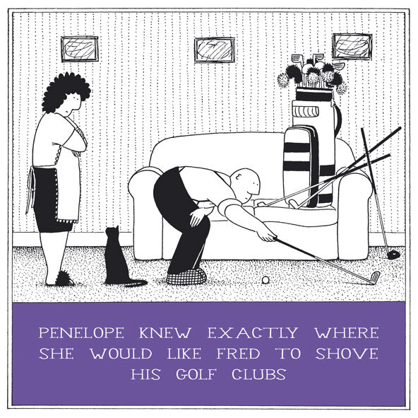 Rupert Fawcett Fred Funny Greeting Card Penelope Shove His Golf Clubs For Sale Online