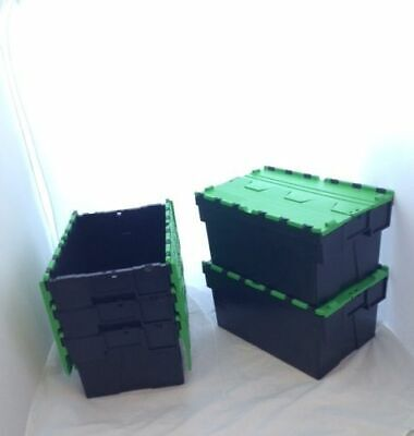 10 x New Green Removal Storage Crates Box Container 25L