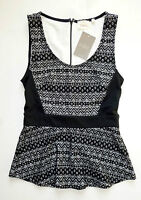 Anthropologie Sculpted Lace Top By Deletta - Black Peplum - Sz Xs