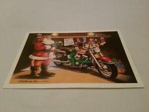 HARLEY DAVIDSON CHRISTMAS CARDS #X152 SANTA PUTTING SOFTAIL DOWN THE CHIMNEY 10