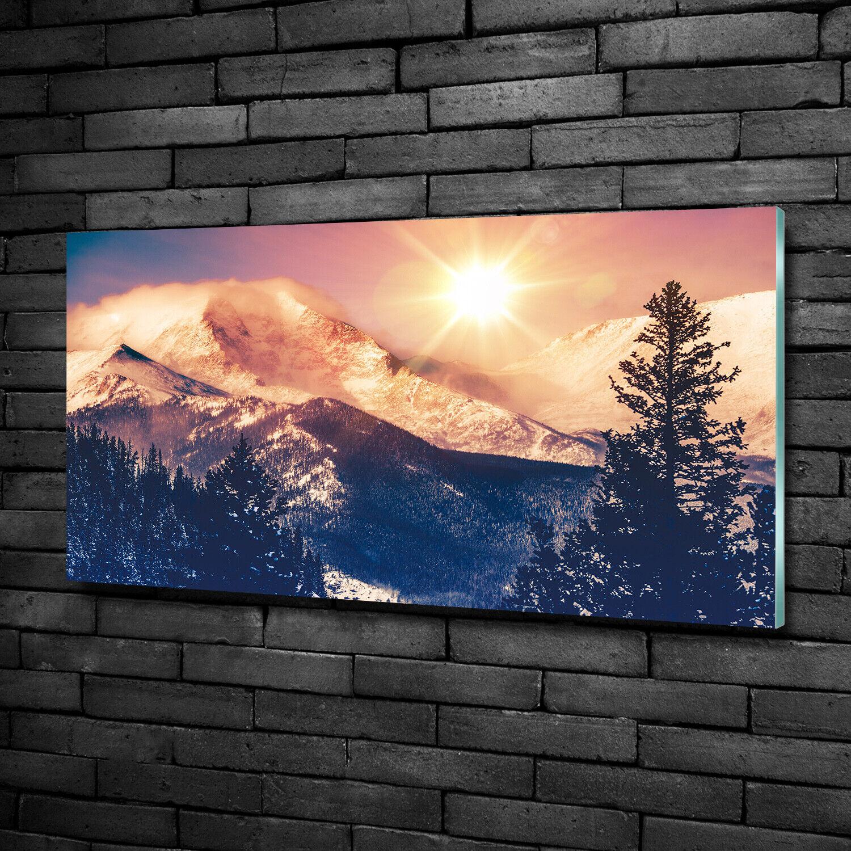 Wandbild aus Plexiglas® Druck auf Acryl 100x50 Landschaften Farbeado-Berge