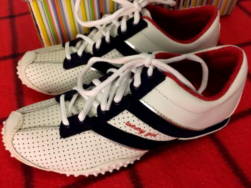NWB TOMMY GIRL SIZE 5.5 M WHITE//NAVY WALKING//RUNNING// HIKING ATHLETIC SNICKER