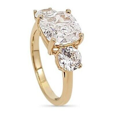"""YELLOW GOLD on 925 SILVER /""""MEGHAN MARKLE/"""" REPLICA 3 STONE ENGAGEMENT RING size N"""