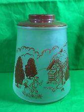 Vintage Frosted Glass Hansel And  Gretel Pokee Cookie Jar Collectible