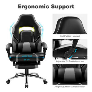 Magnificent Details About Leather Swivel Office Chair Wheels With Arms Back Support Protectors Grey Seat Gmtry Best Dining Table And Chair Ideas Images Gmtryco