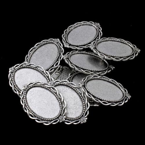 p00747x3 10 FASSUNGEN BROSCHE Broschen SilberFARBE für 20x30mm Cabochons