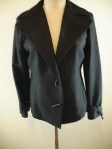 Womens-14-50-Agnona-Italy-Black-Wool-Silk-Jacket-Blazer-Military-Peak-Lapels