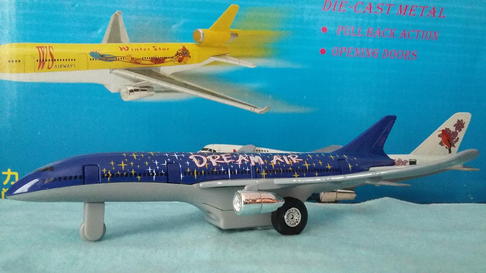 Avion STAR LINER DREAM AIR blu avion miniature 19 cm portes lumieres fonctionne