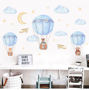 Details About Hot Air Balloon Animals Wall Stickers Decal Removable Kids Nursery Room Decor