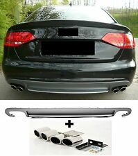 Für Audi A4 B8 8K RS4 S-Line S4 Look Stoßstange Facelift Diffusor + Endrohre #18