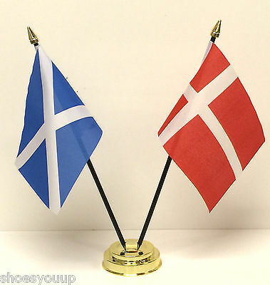 Denmark with Scotland Friendship Table Flag