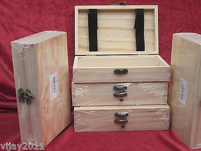 Single Pine wood Plain slim box case  stationery Organiser Decoupage Art craft