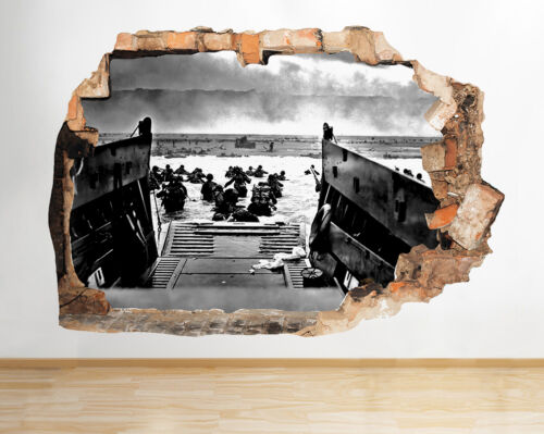 R075 WW2 Boat Water Soldiers War Smashed Wall Decal 3D Art Stickers Vinyl Room