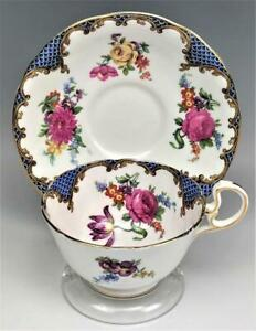 AYNSLEY-ENGLISH-PAINTED-BONE-CHINA-FLORAL-BLUE-SCALE-GOLD-GILT-TEA-amp-CUP-SAUCER